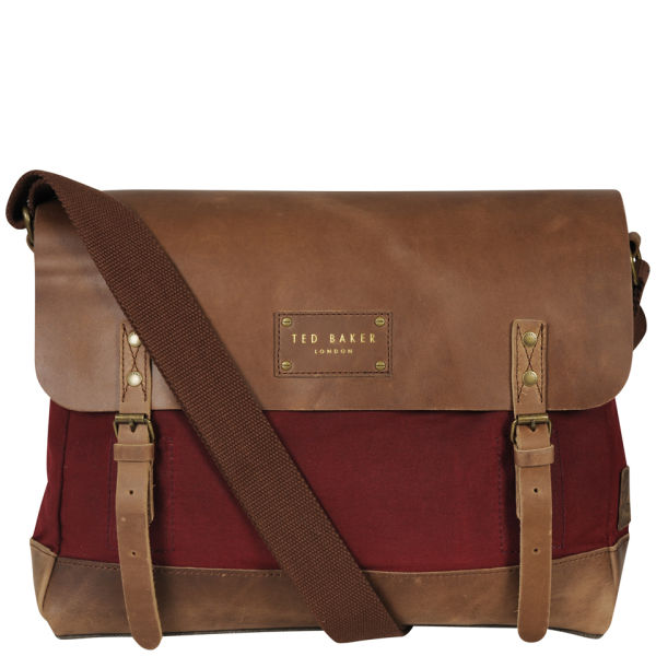 Ted Baker Candes Waxed Canvas Despatch Bag - Dark Red
