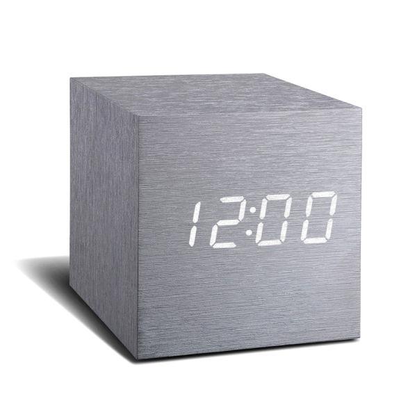 Réveil Cube Aluminium Gingko Click Clock