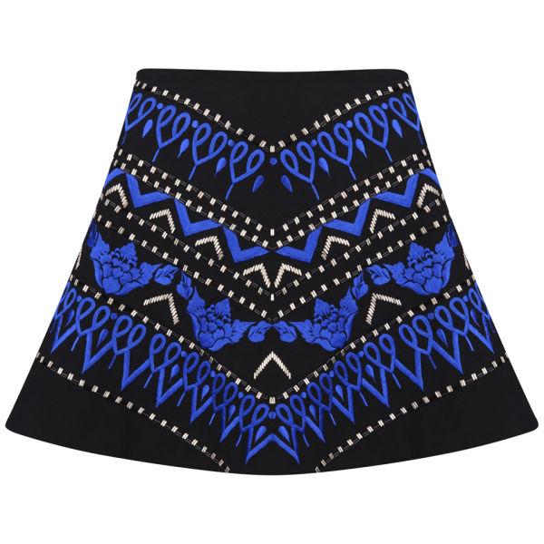 AnhHa Women's Embroidered Skater Skirt - Blue