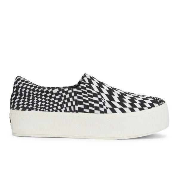 Opening Ceremony Women's Grunge Checkered Slip On Platform Sneakers - Black/White