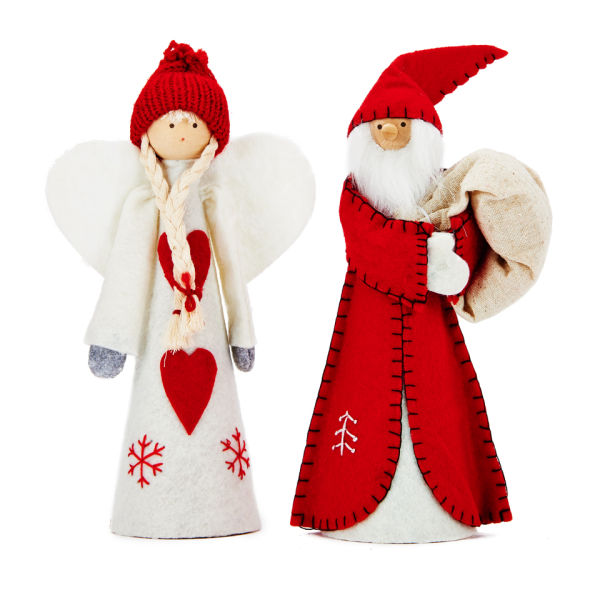 Gisela Graham Christmas Tree Topper: Gisela Graham Red/Wht Felt Santa/Angel Tree Topper (25cm