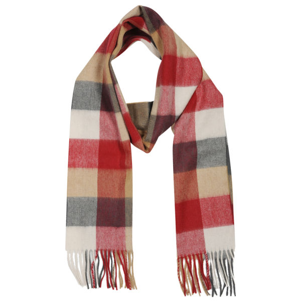 Barbour Large Tattersall L/Wool Scarf - Camel/Red