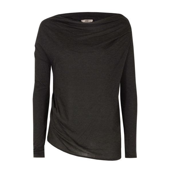 Helmut Lang Women's Kinetic Jersey Off The Shoulder Top - Dark Heather