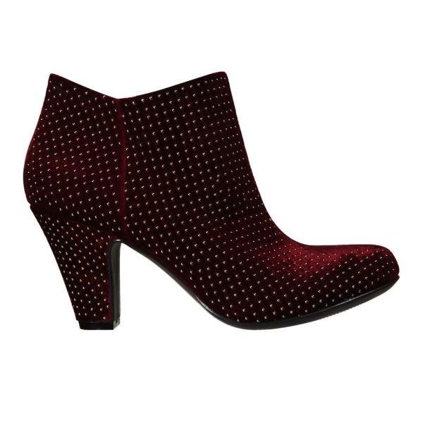 BCBGeneration Women's Daphnee Velvet Studded Boots - Burgundy
