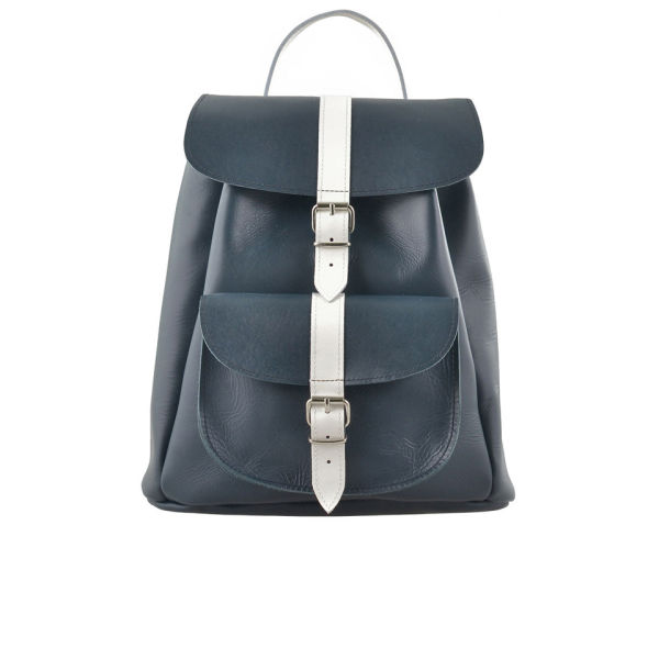 Grafea Nautical Leather Backpack - Navy - Free UK Delivery over £50