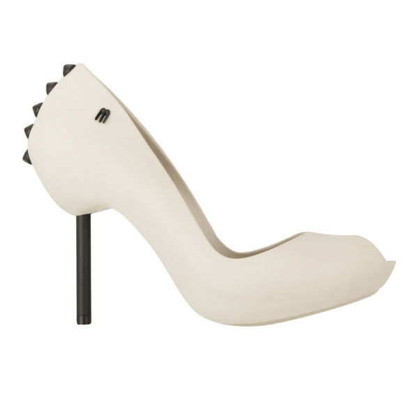 Melissa Women's Spikes 11 Peep Toe Heels - Ivory/Black | FREE UK Delivery | Allsole