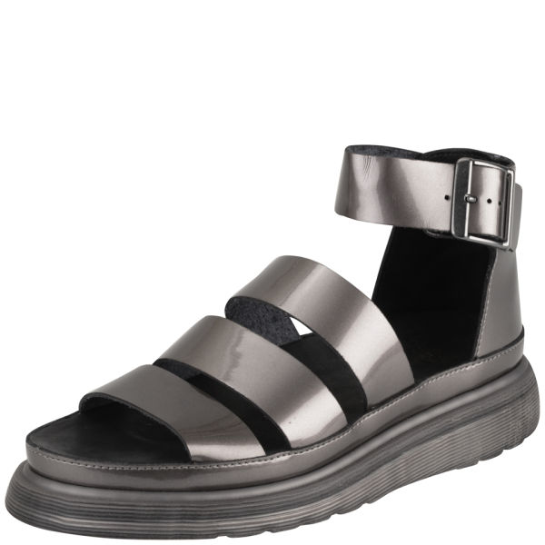 cd7e34ee24a3 Dr. Martens Women s Clarissa Chunky Strap Patent Leather Sandals - Pewter   Image 3
