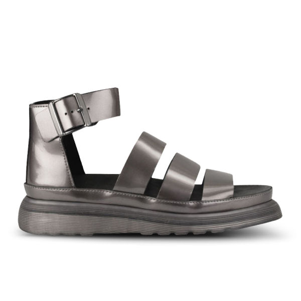 Dr. Martens Women's Clarissa Chunky Strap Patent Leather Sandals - Pewter