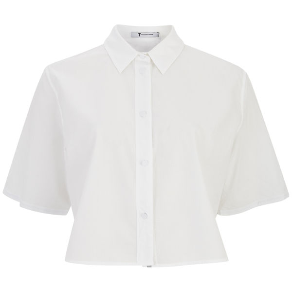 T by Alexander Wang Women's Ripstop Poplin Short Sleeve Cropped Shirt - White