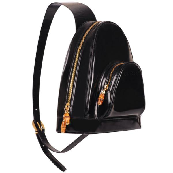 b0eda9a5119 Gucci Vintage Patent Leather Backpack Handbag - Black  Image 2