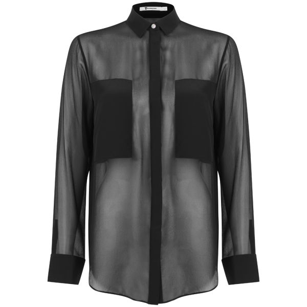 T by Alexander Wang Women's Silk Chiffon Long Sleeve Shirt - Black
