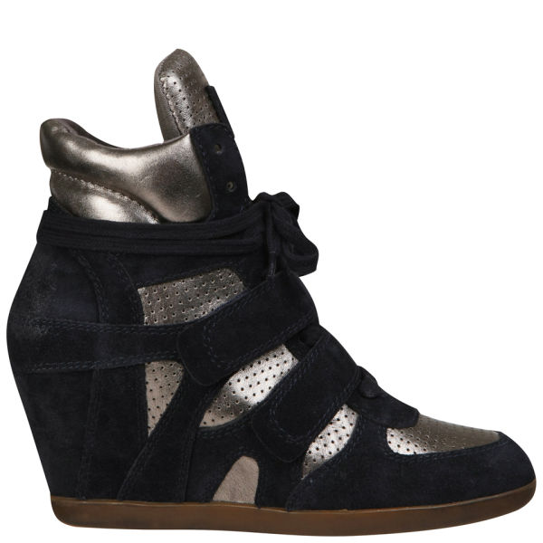 Ash Women's Bea Suede Wedged Hi-Top Trainers - Midnight/Piombo