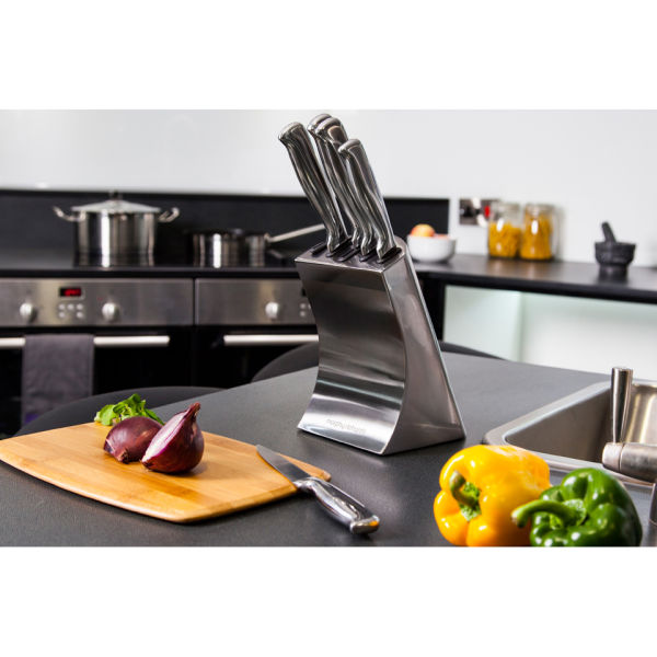Kitchen Wall Accessories Stainless Steel: Morphy Richards 46295 Accents 5 Piece Knife Block Set