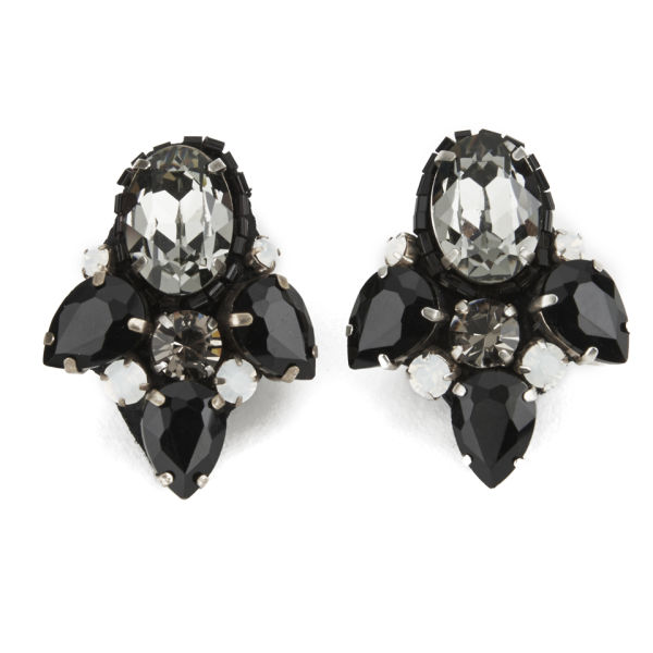 Matthew Williamson Opulent Jewelled Cluster Earrings - Black