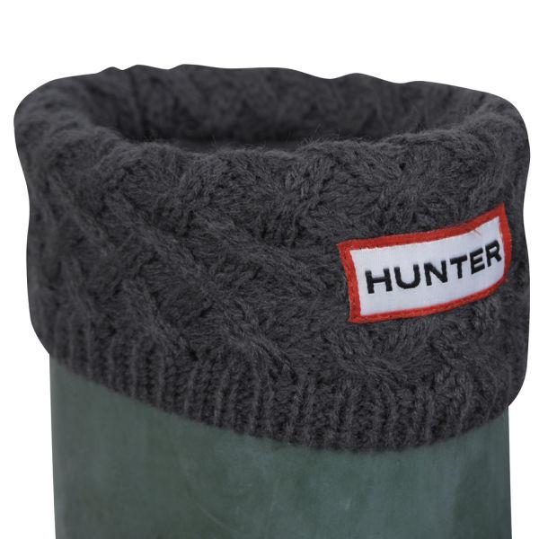 Hunter Unisex Basketweave Cuff Welly Socks - Charcoal