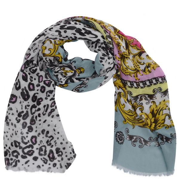 Codello Women's Winter Wonderland Leopard and Heraldic Scarf - Multi