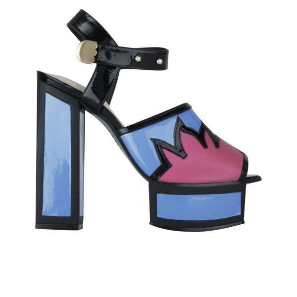 Kat Maconie Women's Liza Patent Leather Flame Heels - Blue/Magenta/Black