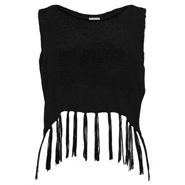 Vero Moda Women's Hazel Knitted Tassel Crop Top - Black