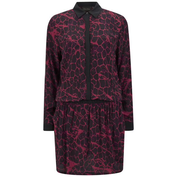 Gestuz Women's Snake Silky Shirt Dress - Red/Black