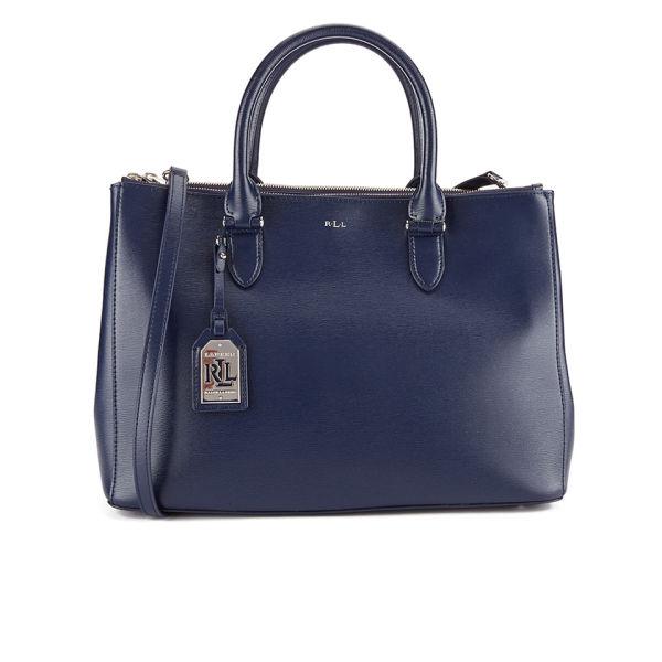 60a58937f6 Lauren Ralph Lauren Women s Newbury Double Zipper Satchel Bag - Navy  Image  1