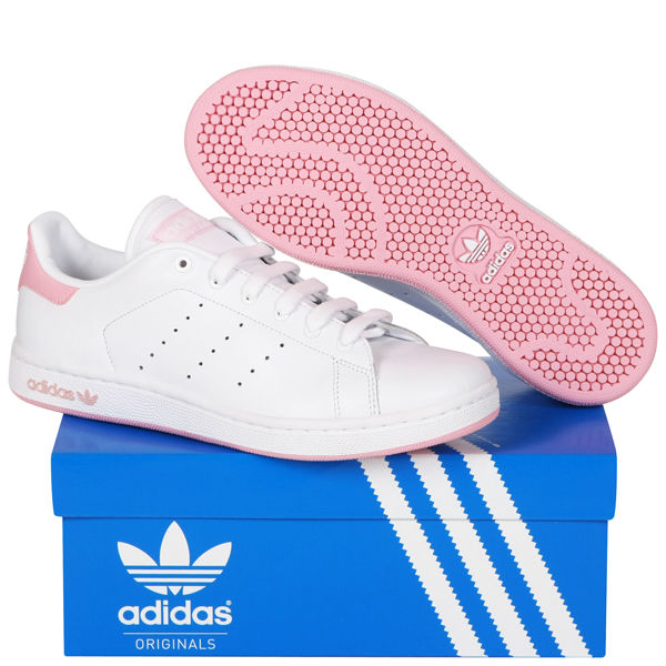 zoudg adidas Women\'s Stan Smith Trainers - White/Pink Sports & Leisure