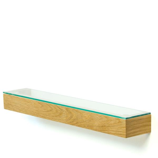 Wireworks Natural Oak Slimline Glass Shelf - 55cm