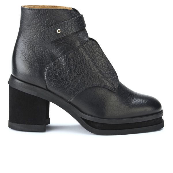 Purified Women's Patricia 2 Lace-Up Chunky Heeled Leather Ankle Boots - Black