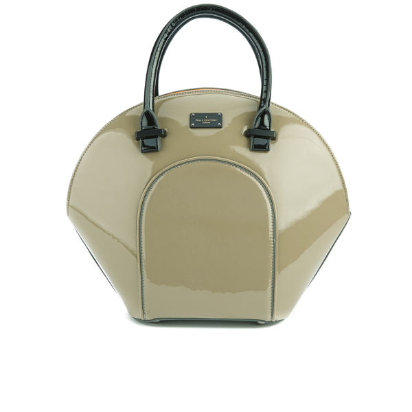 36f9a5f529be Paul s Boutique Women s Meg Structured Patent Bowler Bag - Mink with Coral   Image 1