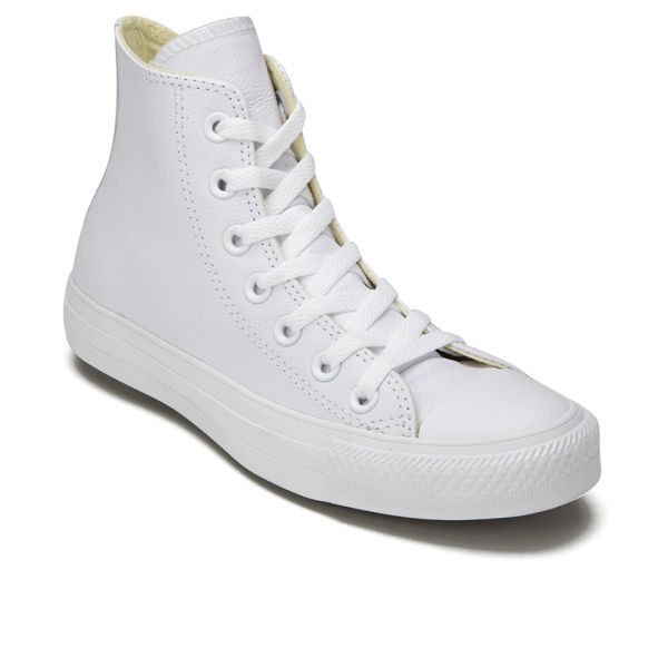 96e39e18f62e Converse Unisex Chuck Taylor All Star Leather Hi-Top Trainers - White  Monochrome  Image