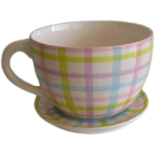 Giant Gingham Tea Cup and Saucer Planter Unique Gifts | Zavvi