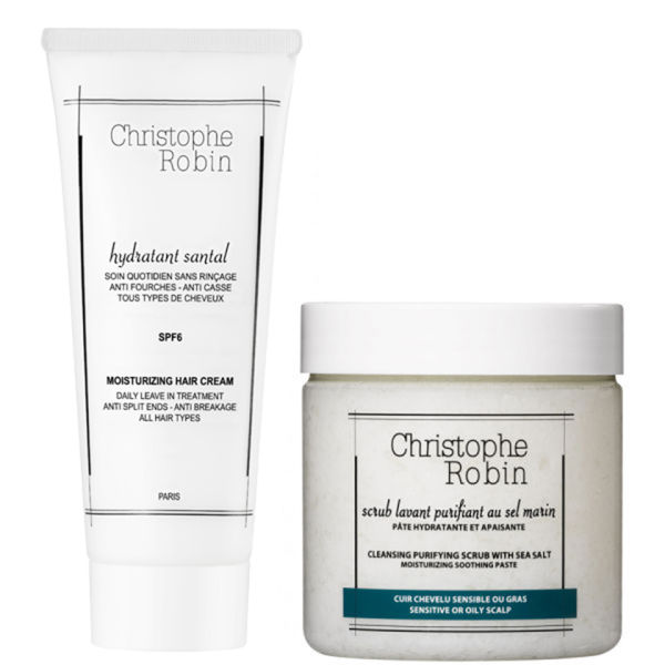 Christophe Robin Cleansing Purifying Sea Salt Scrub (250 ml) och Moisturizing Hair Cream (100 ml)