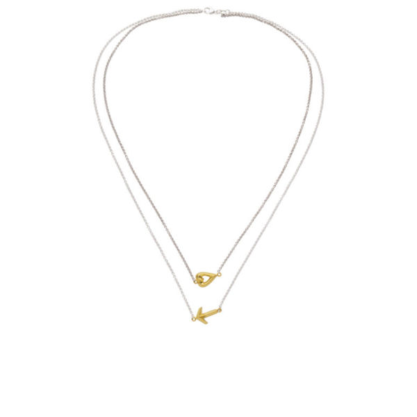 Daisy Knights Heart and Arrow Double Necklace - Gold