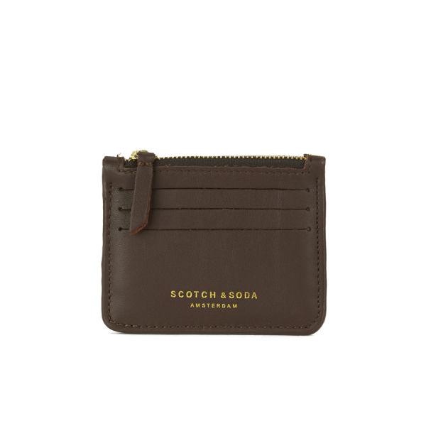 scotch soda leathersuede zip credit card holder brown image 1 - Zip Card Holder
