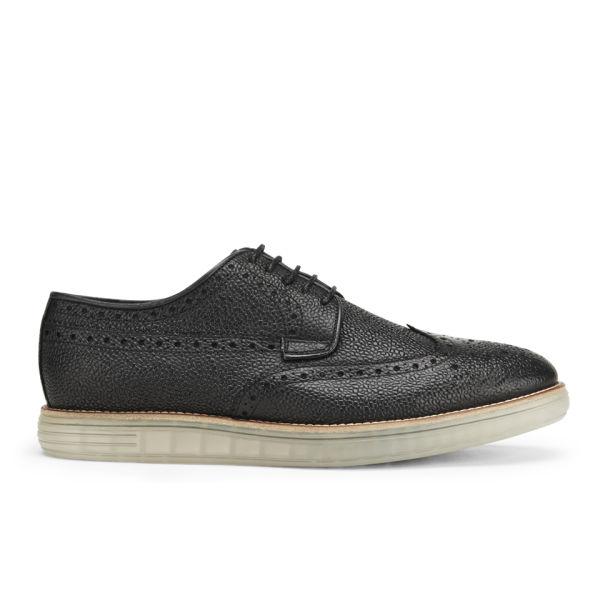 Hudson London Men's Harvey Grain Leather Clear Sole Brogues - Black