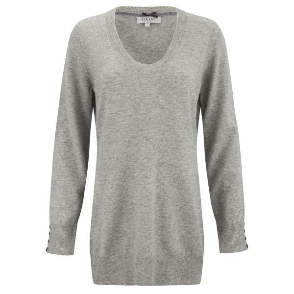 Cocoa Cashmere Women's Long Scoop Neck Cashmere Jumper - Grey