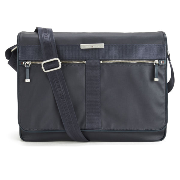 493805508c Tommy Hilfiger Men's Coated Canvas Darren Messenger Bag with Flap -  Midnight: Image 1
