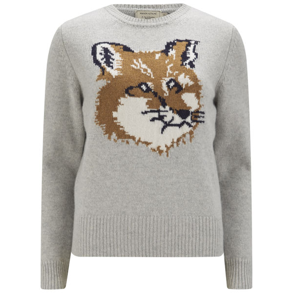 Maison Kitsuné Womens Wool Fox Jumper - Light Grey Melange