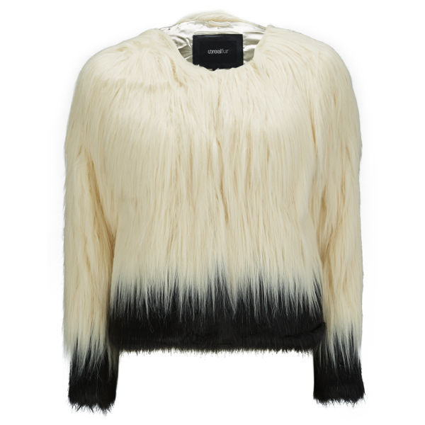 Unreal Fur Women's Fire and Ice Contrast Hair Faux Fur Jacket - Cream/Black