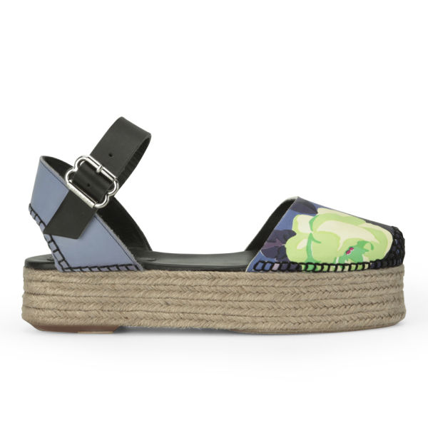 Carven Women's Flower Print Espadrilles - Blueberry