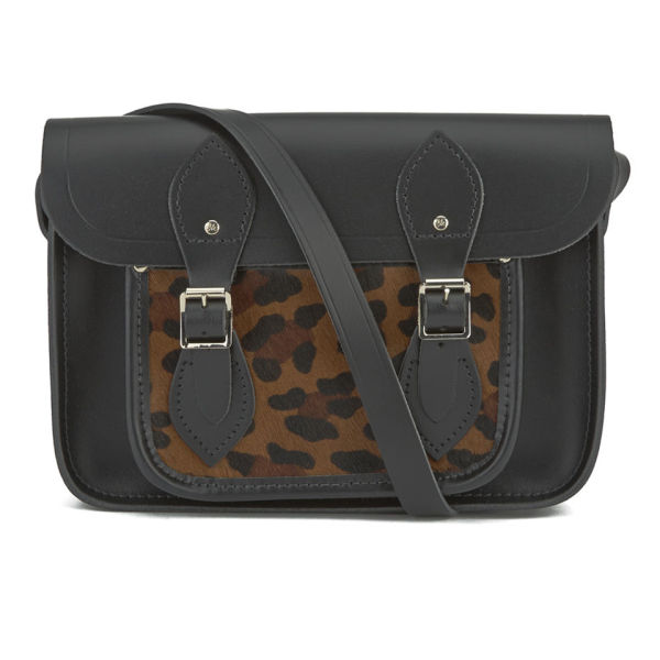 The Cambridge Satchel Company Women's 11 Inch Satchel with Haircalf Pocket - Black/Leopard