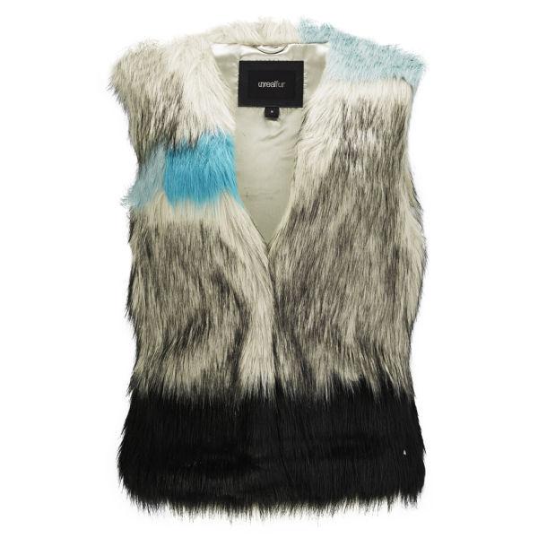 Unreal Fur Patchwork Faux Fur Gilet - Multi Turquoise