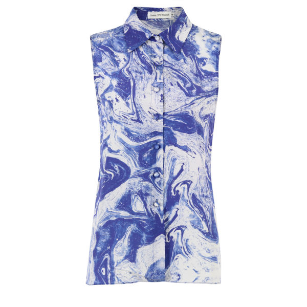 Charlotte Taylor Women's Blue Marble Sleeveless Shirt - Blue/White