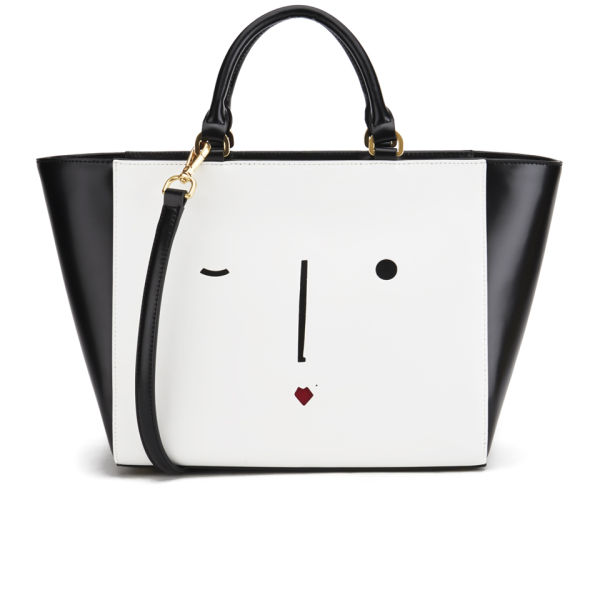 Lulu Guinness Women S Cesca New Face Tote Bag Black White Image 1