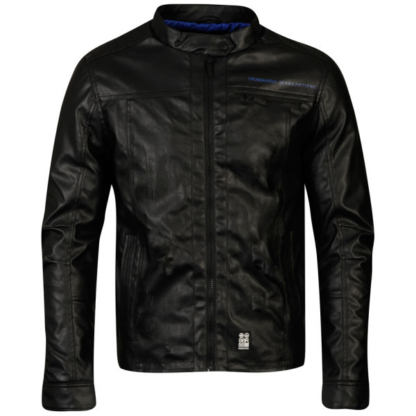 Crosshatch Menu0026#39;s Leather Look Jacket - Black/Blue Clothing | Zavvi