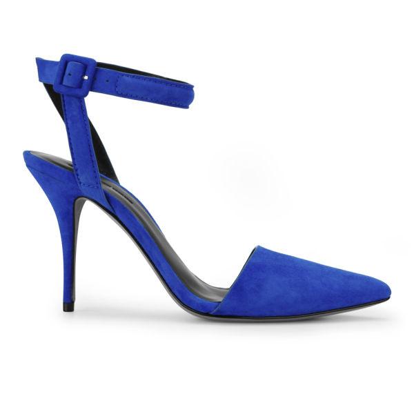 Alexander Wang Women's Lovisa Ankle Strap Suede Heels - Royal Blue
