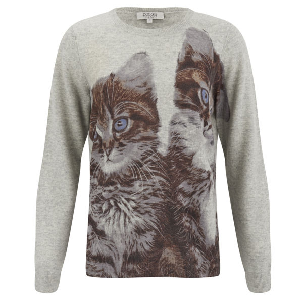 Cocoa Cashmere Women's Cat Crew Neck Cashmere Jumper - Multi Cats