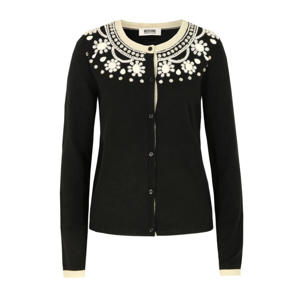 Moschino Cheap and Chic Women's A0953 Beaded Cardigan - Black
