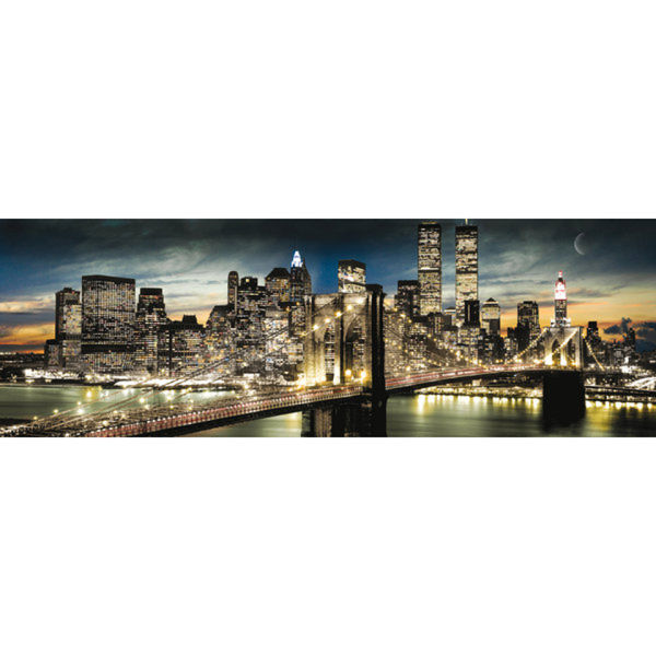 New York Manhattan Night and Moon - Midi Poster - 30.5cm x 91.5cm