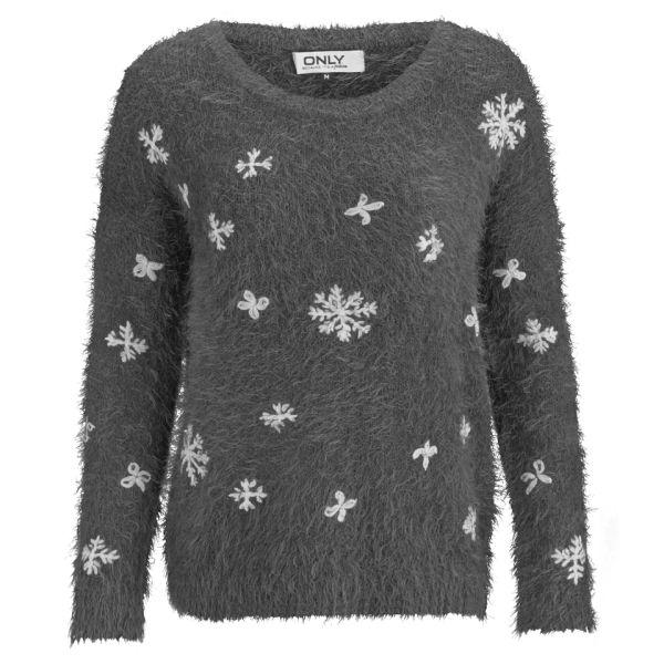 ONLY Women's Crystal Snowflake Christmas Jumper - Dark Grey Melange