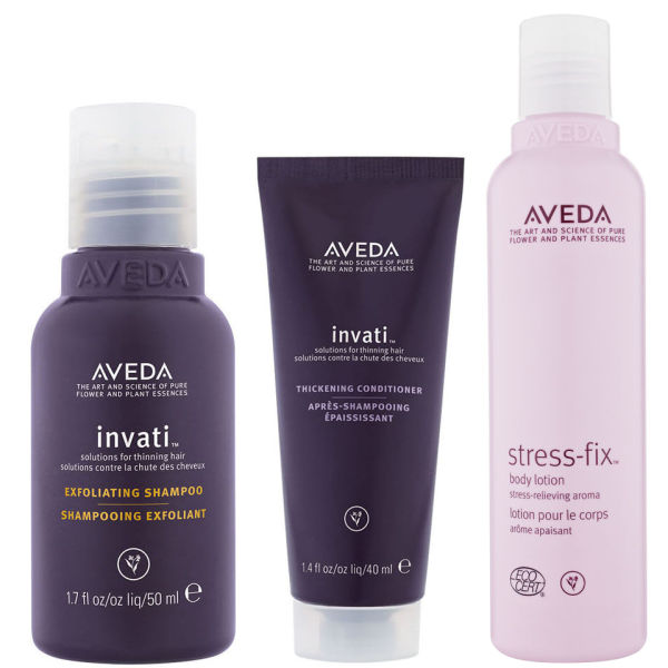 Aveda Invati Shampoo and Conditioner (Travel Sizes) with Stress Fix Body Lotion